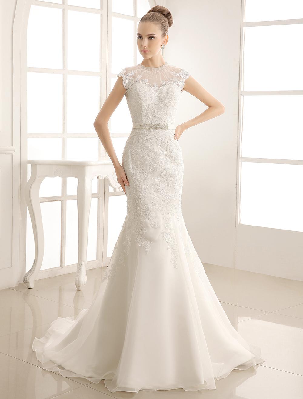 High Collar Lace Brides Wedding Dress With Beading Sash Milanoo
