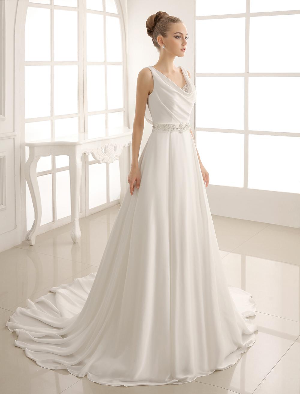 Turndown Collar Brides Wedding Dress With Pleated Satin Milanoo