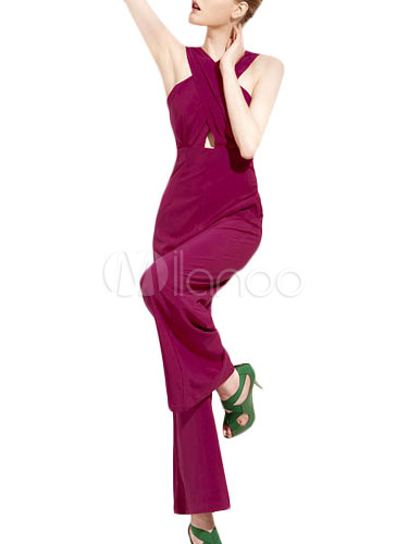 Jumpsuit With Cross Neck