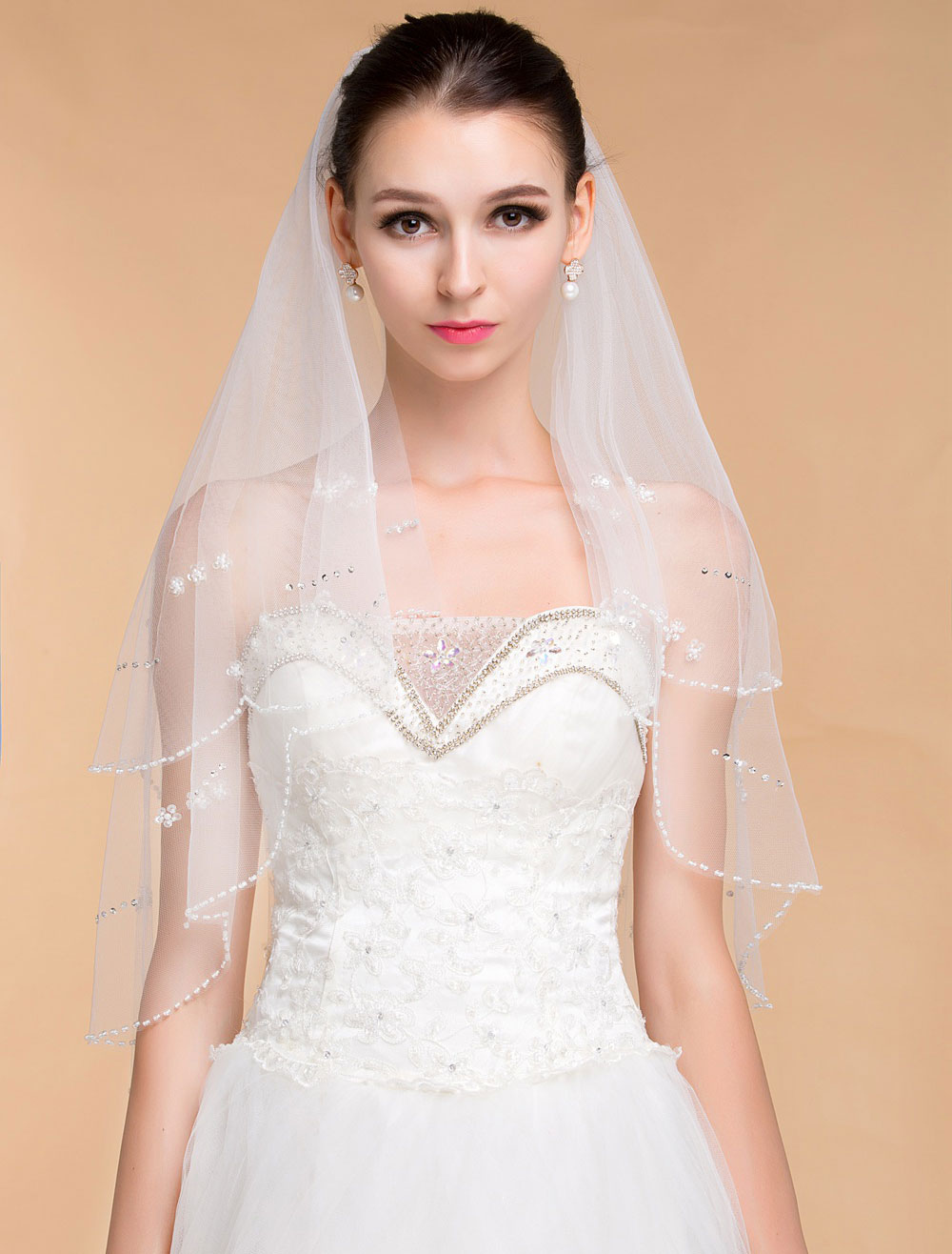 Bridal Wedding Veil With Beaded Edge