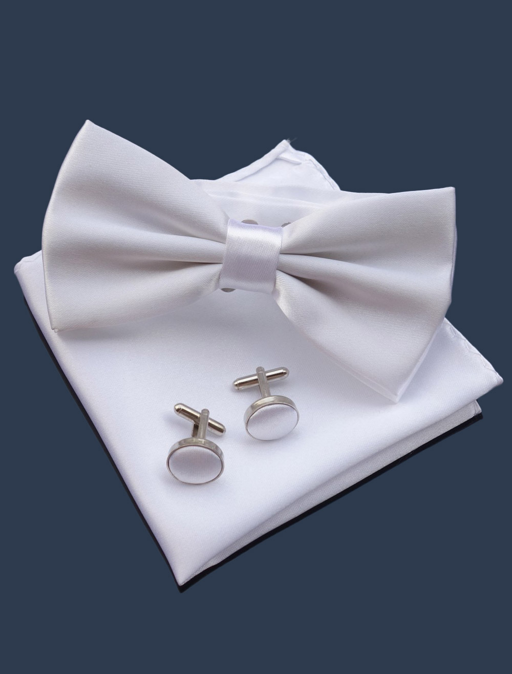 White Groom's Kerchief Bow Tie and Cufflink Polyester Wedding Accessories