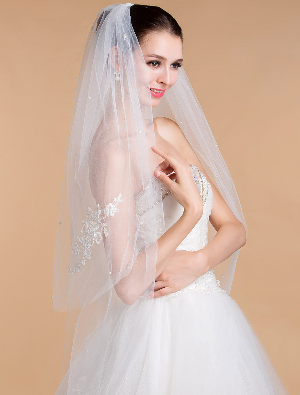 Wedding Veil With Embroidered Two-Tier Edge