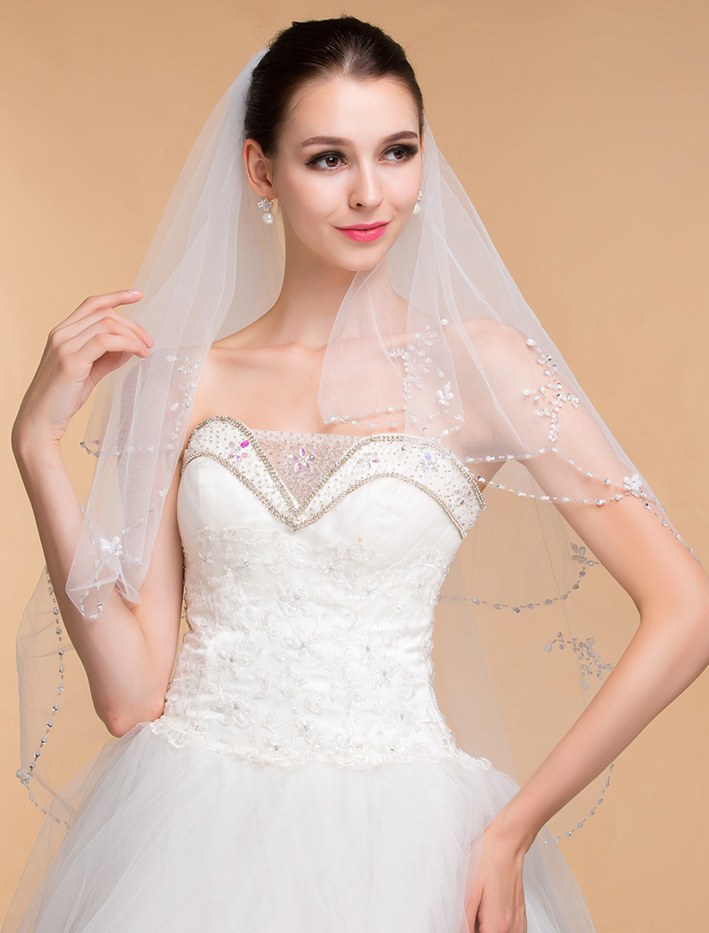 Ivory Beaded Sequins Tulle Two-Tier Wedding Veils