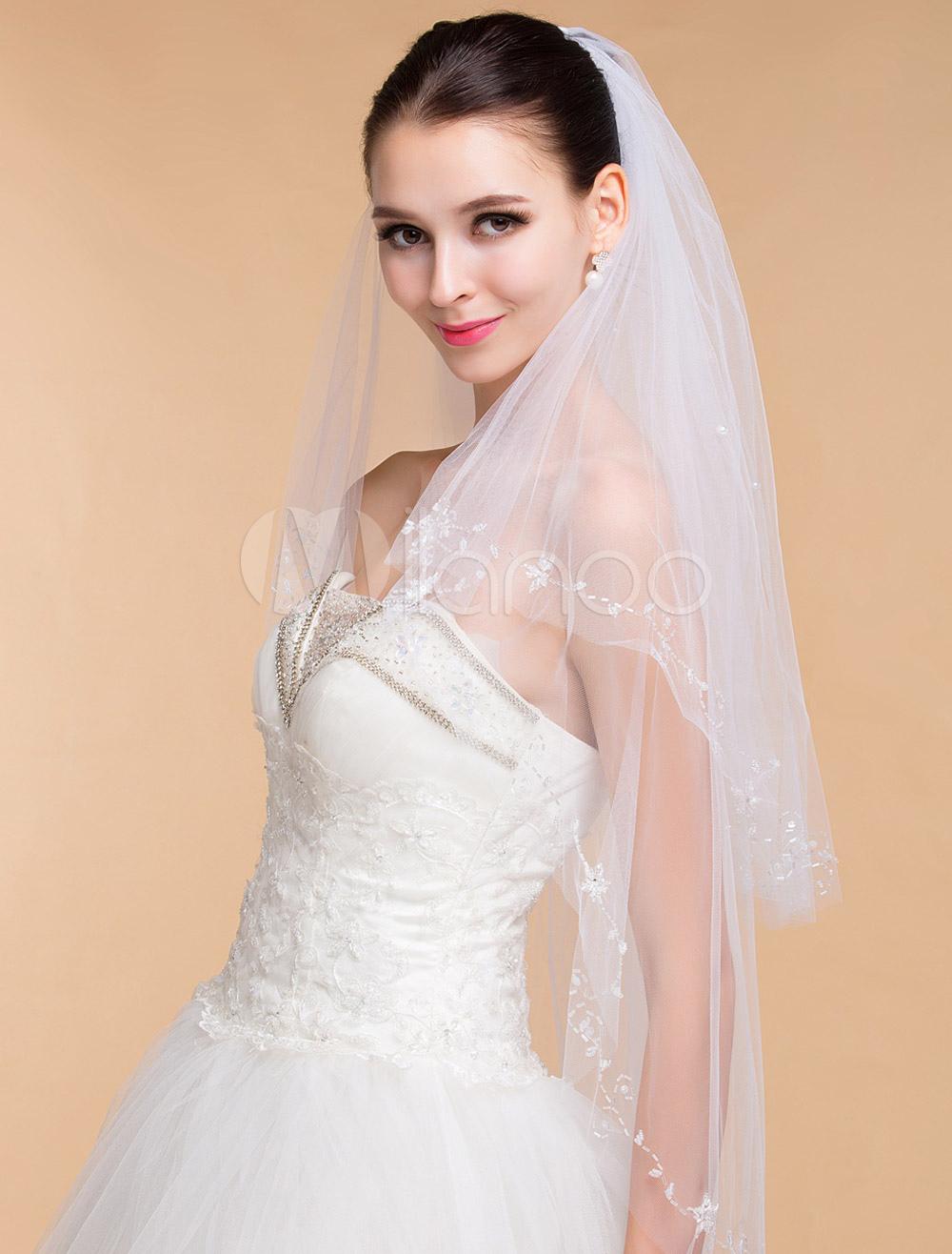 Two-Tier Wedding Veil With Handmade Beaded Edge
