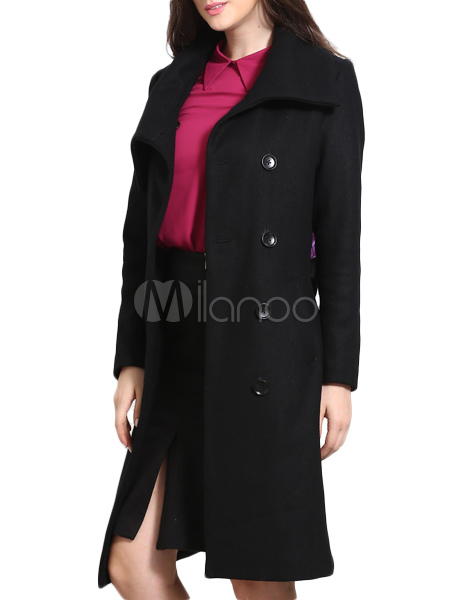 Oversized Pea Coat With Notch Collar