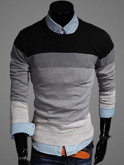 Buy Crewneck Color Block Pullover Knitwear for $31.49 in Milanoo store