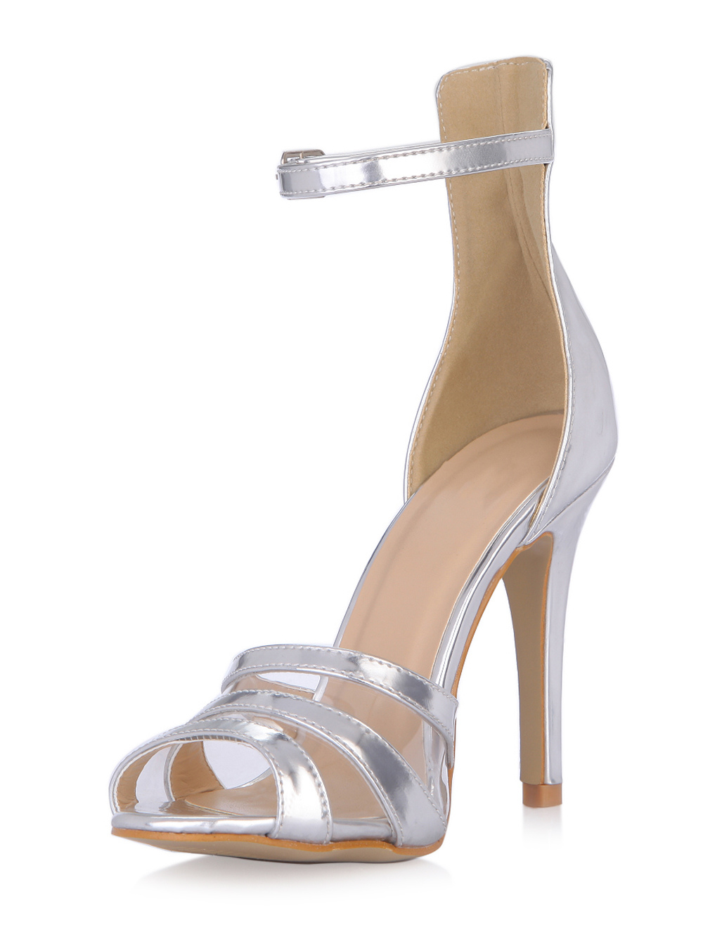 Silver Buttons Stiletto Heel Dress Sandals With Stripes