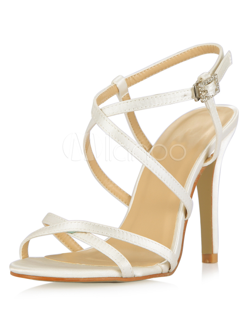 Ivory Stiletto Heel Bride's Sandals With Stripes