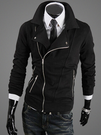 Jacket with Asymmetrical Zipper
