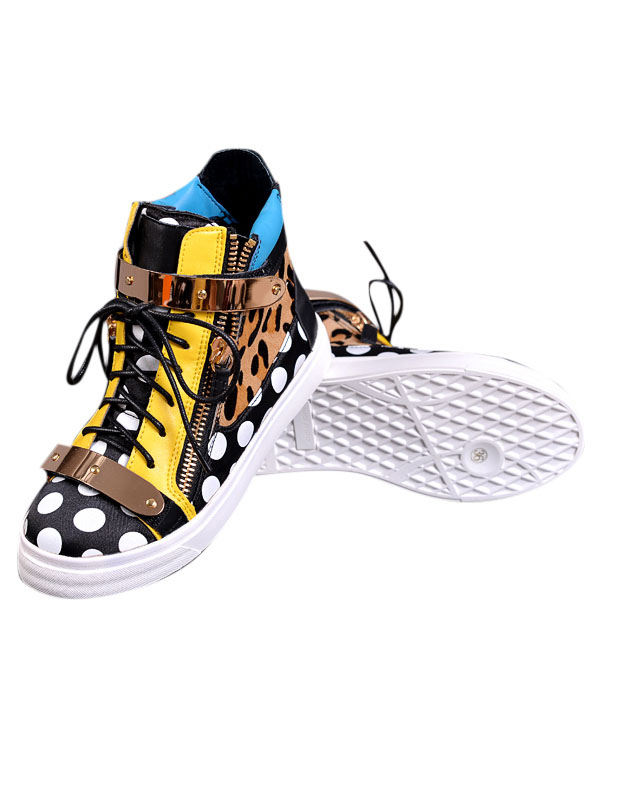 Colorful High-cut Sneakers With Leopard Pattern