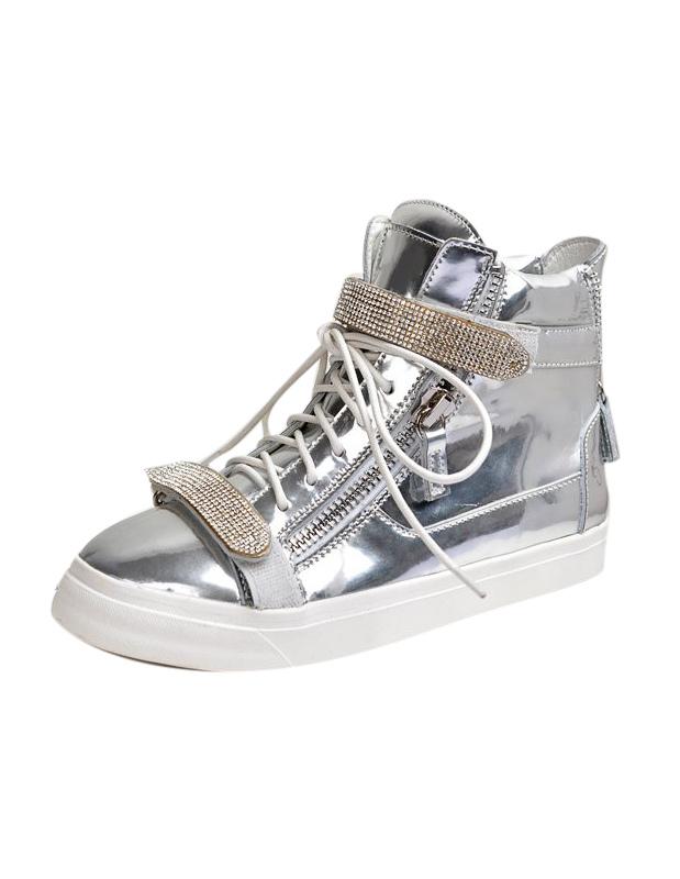 Cowhide Sneakers With Rhinestone Detailing