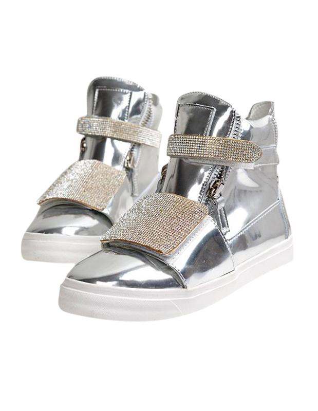 High-cut Sneakers With Rhinestone Buckle
