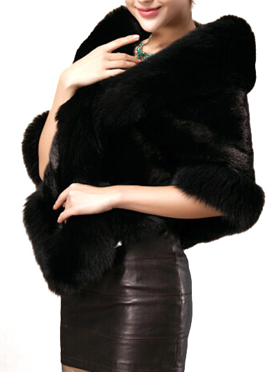 Faux Fur Coat Women Black Fur Wrap Wedding Faux Fur Jacket