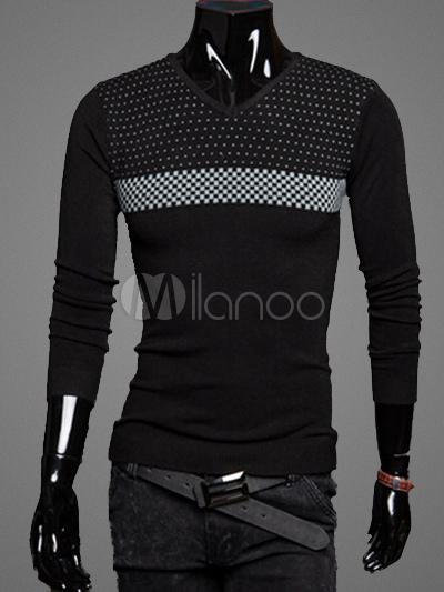 V-Neck Pullover Knitwear with Polka Dot Pattern