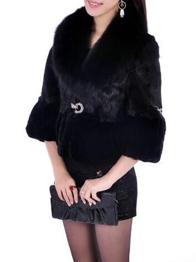 Elegant Half Sleeve Faux Fur Jacket