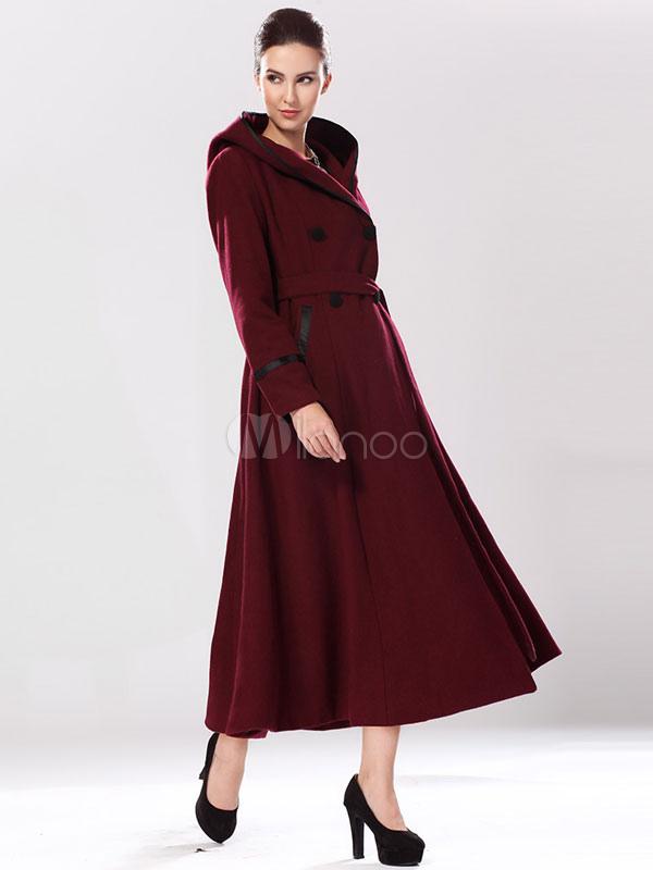 Manteau long femme bordeaux