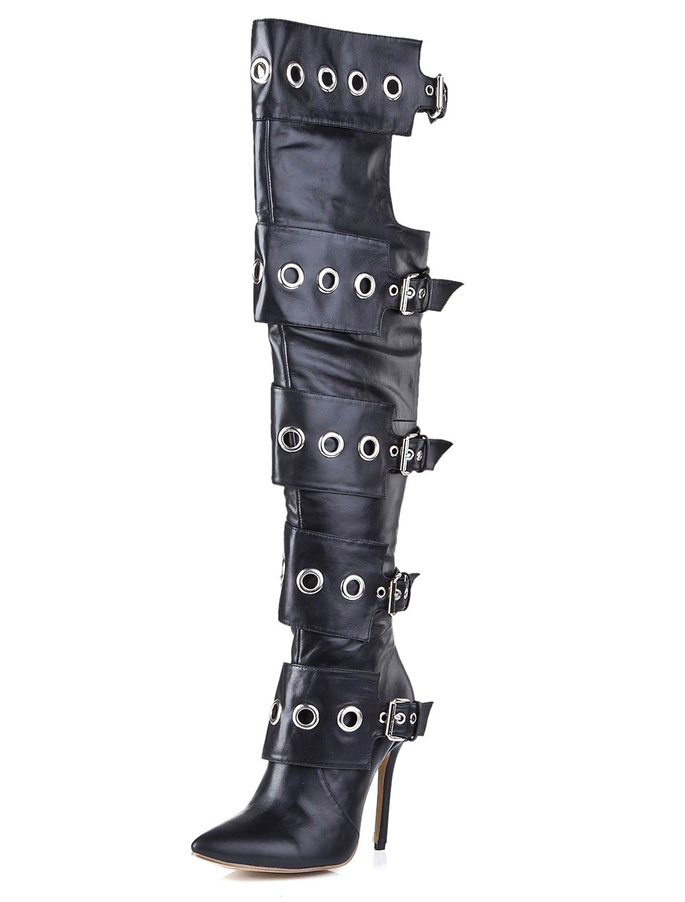 Thigh High Boots Black Pointed Toe Cowhide Buckled Over Knee Boots