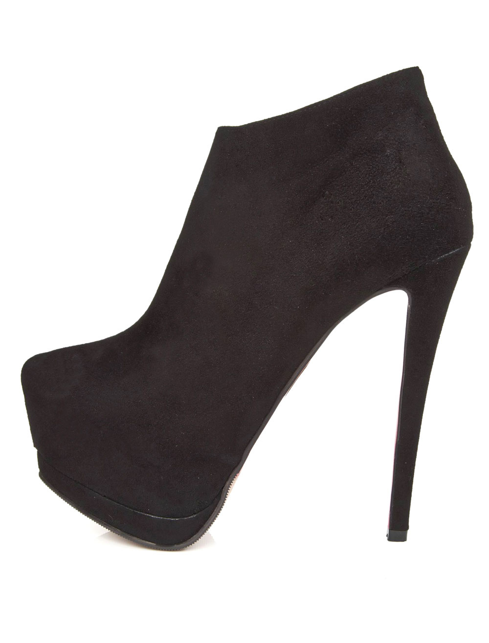 Black Almond Toe Stiletto Heel High-cut Booties