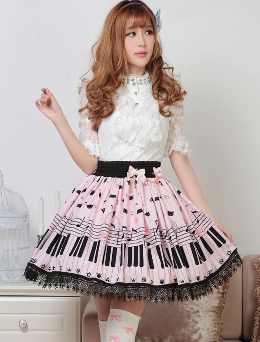 e4f7d5708 Vestidos de Lolita 2019 Dulce Piano Nota Estampado Lolita Falda Encaje