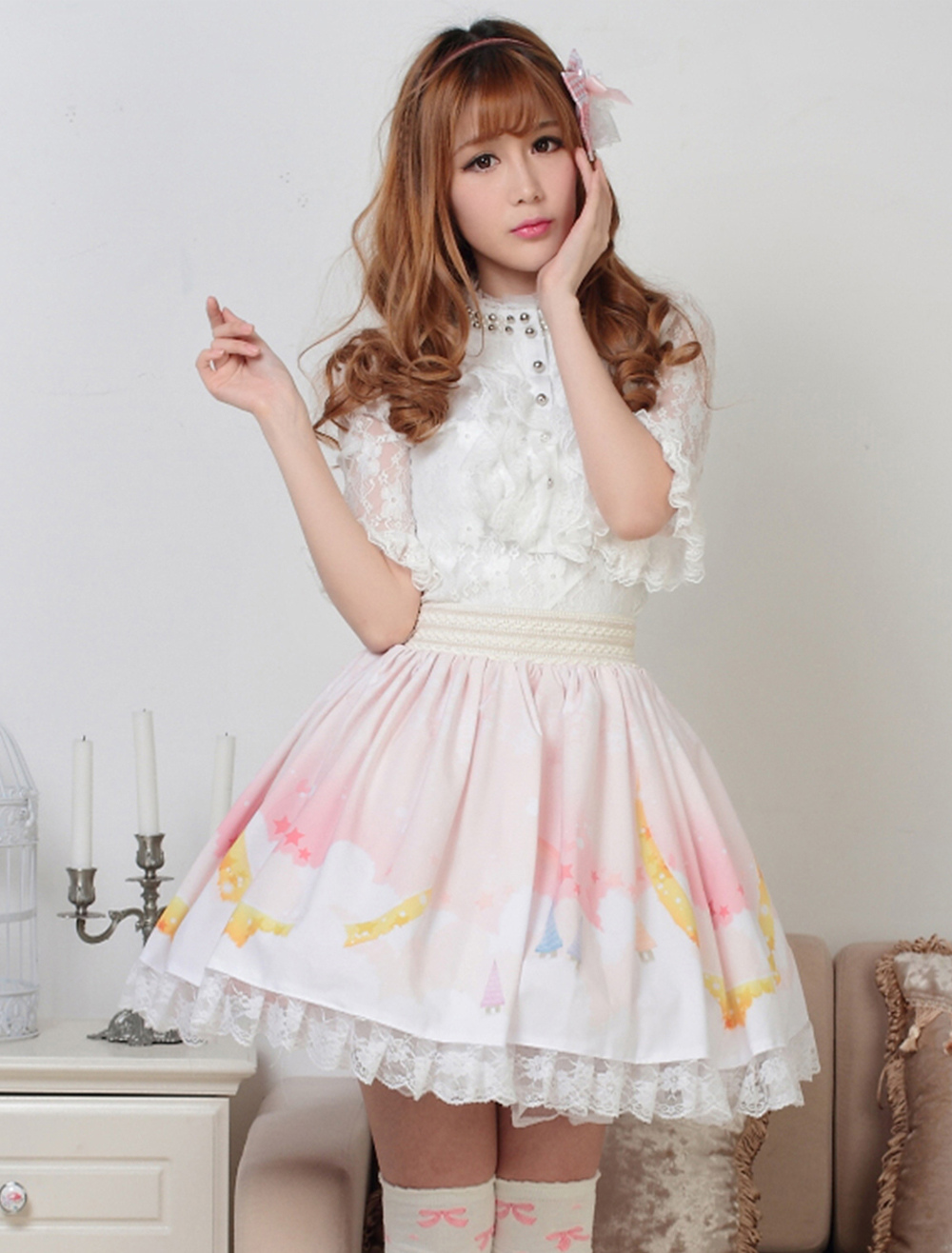 Sweet Light Pink White Printed Lolita Skirt with Lace Trim