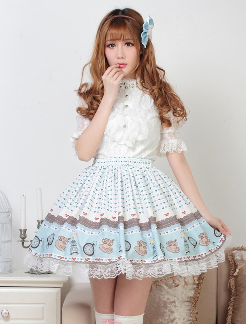 Sweet Light Blue Lolita Short Skirt Lace Trim Heart Print