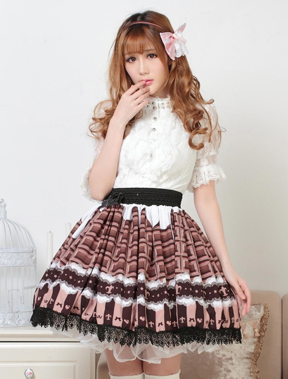 Angle Chocolate Lace Lolita Skirt