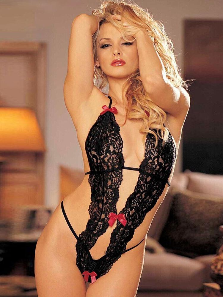 Body sexy noir avec dentelle et noeud à dos nu - Milanoo.com 9c1dba14b70