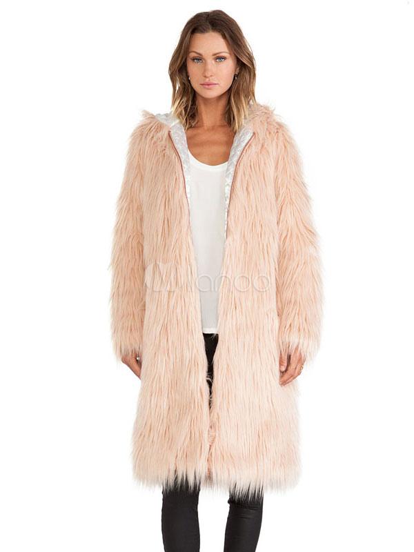 lo último 3b20a d832a Abrigo de piel sintética rosa con capucha