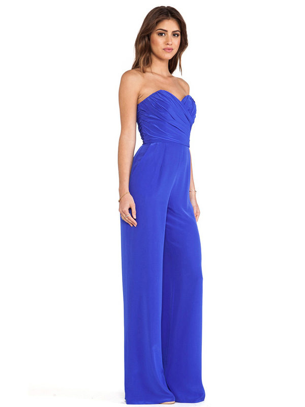 royal blue strapless jumpsuit sweetheart ruched jumpsuit