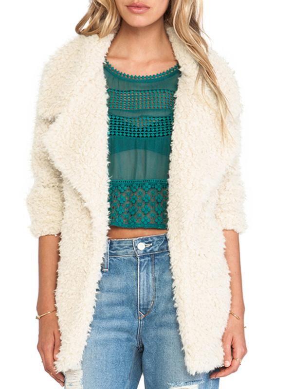 White Notch Collar Faux Fur Coat