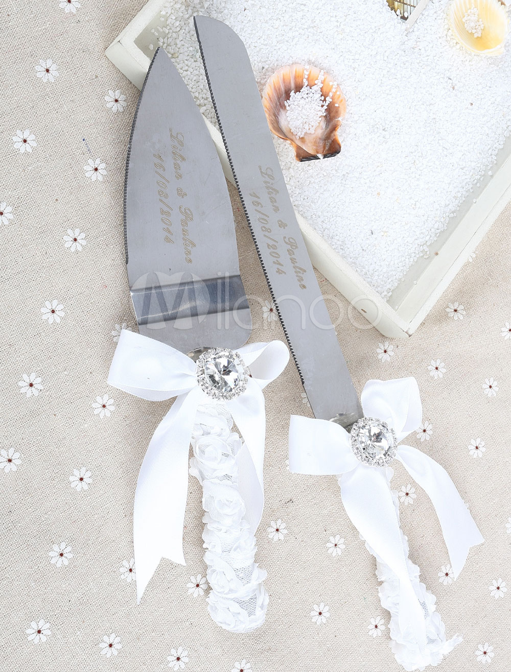Personalized Cake Knife & Server Set with Ribbon for Wedding