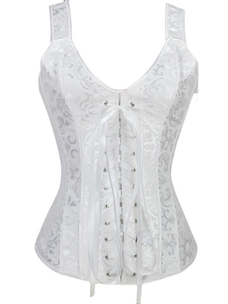 White Bridal Corset Lace Up Overbust Wedding Corsets