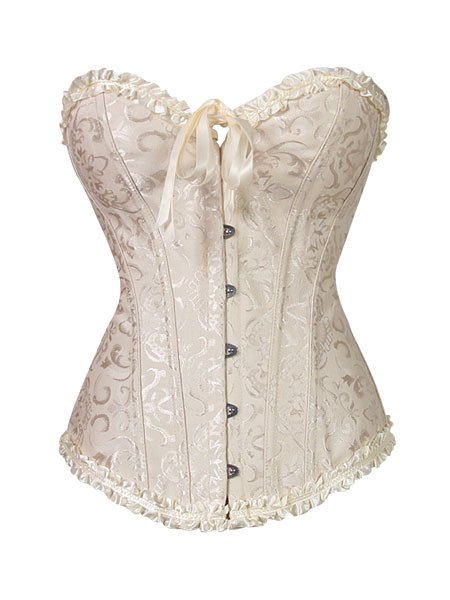 Apricot Jacquard Overbust Corsets