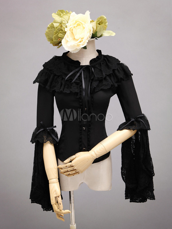 Buy Pure Black Cotton Lolita Blouse Middle Hime Sleeves Ruffles Lace Trim for $77.99 in Milanoo store