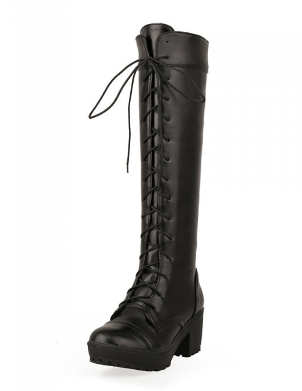 Black Women Boots Mid Calf Boots Round Toe Knee Length Lace Up Boots