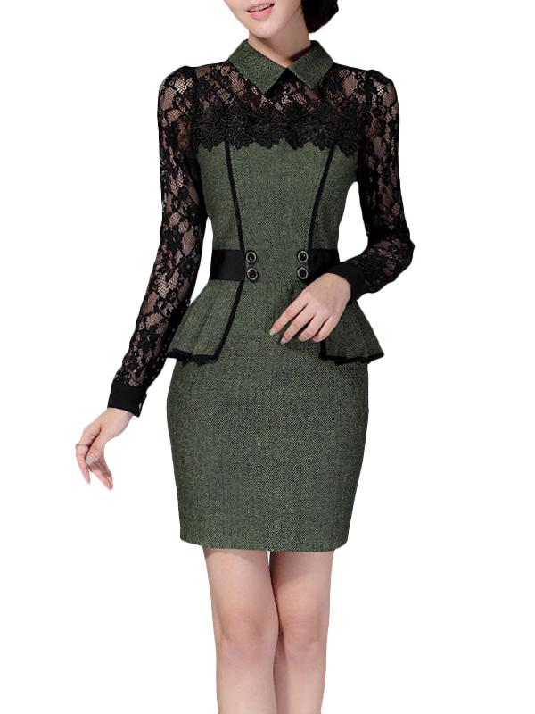 Two-Tone Lace Bodycon Dress