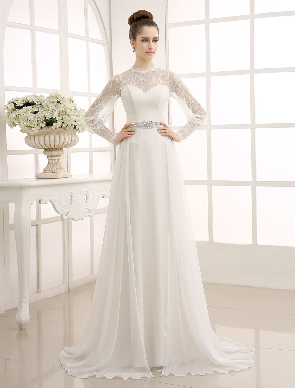 Ivory Sweep Chiffon Wedding Dress with Beaded Lace Milanoo