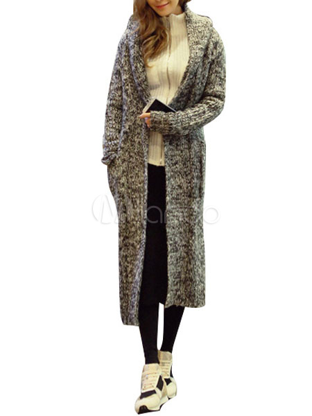 aa75e9d186828 Manteau long à tricoter en laine mélangée gris - Milanoo.com