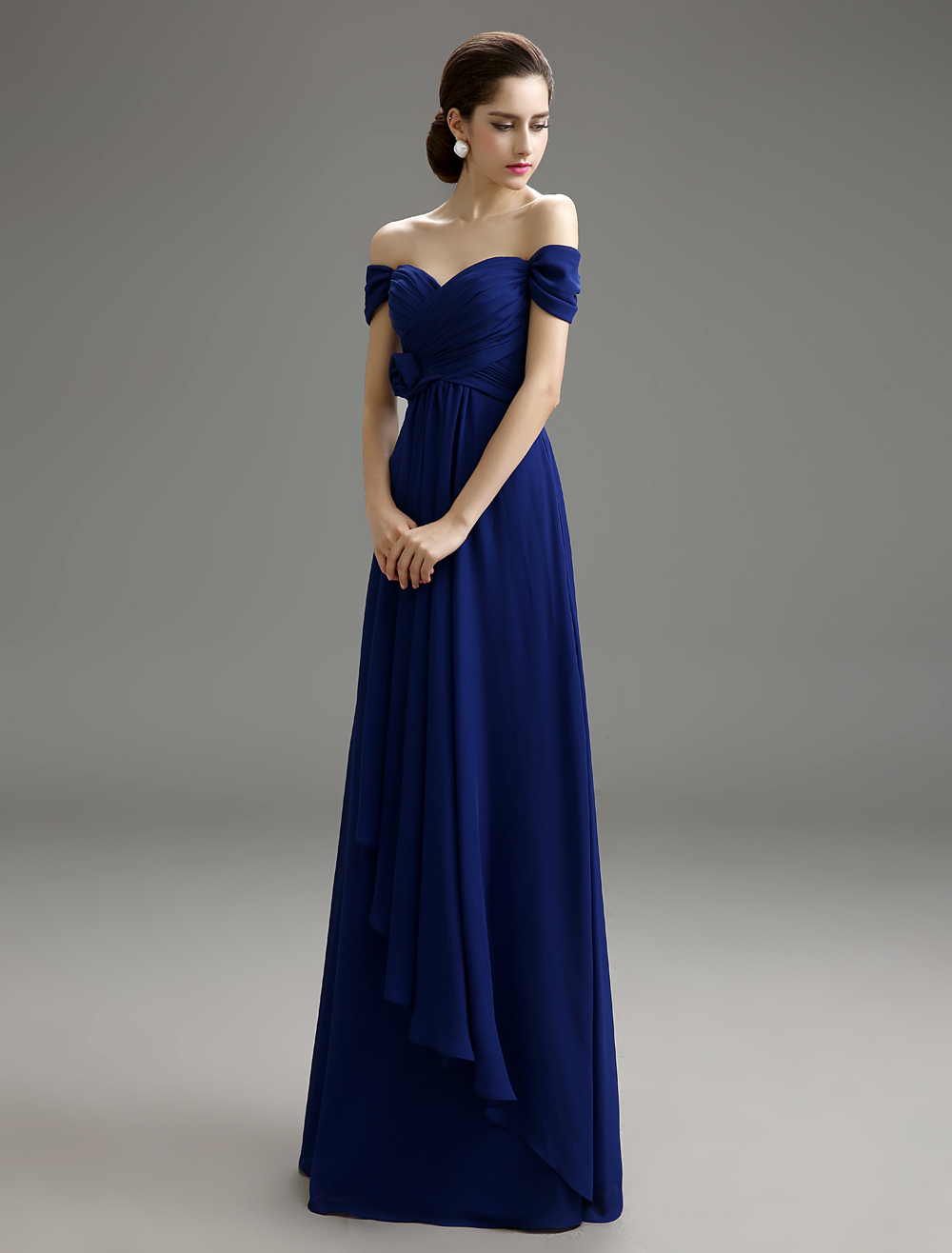 Sweetheart Chiffon Detachable Bridesmaid Dress with Off-The-Shoulder Wedding Guest Dress Milanoo