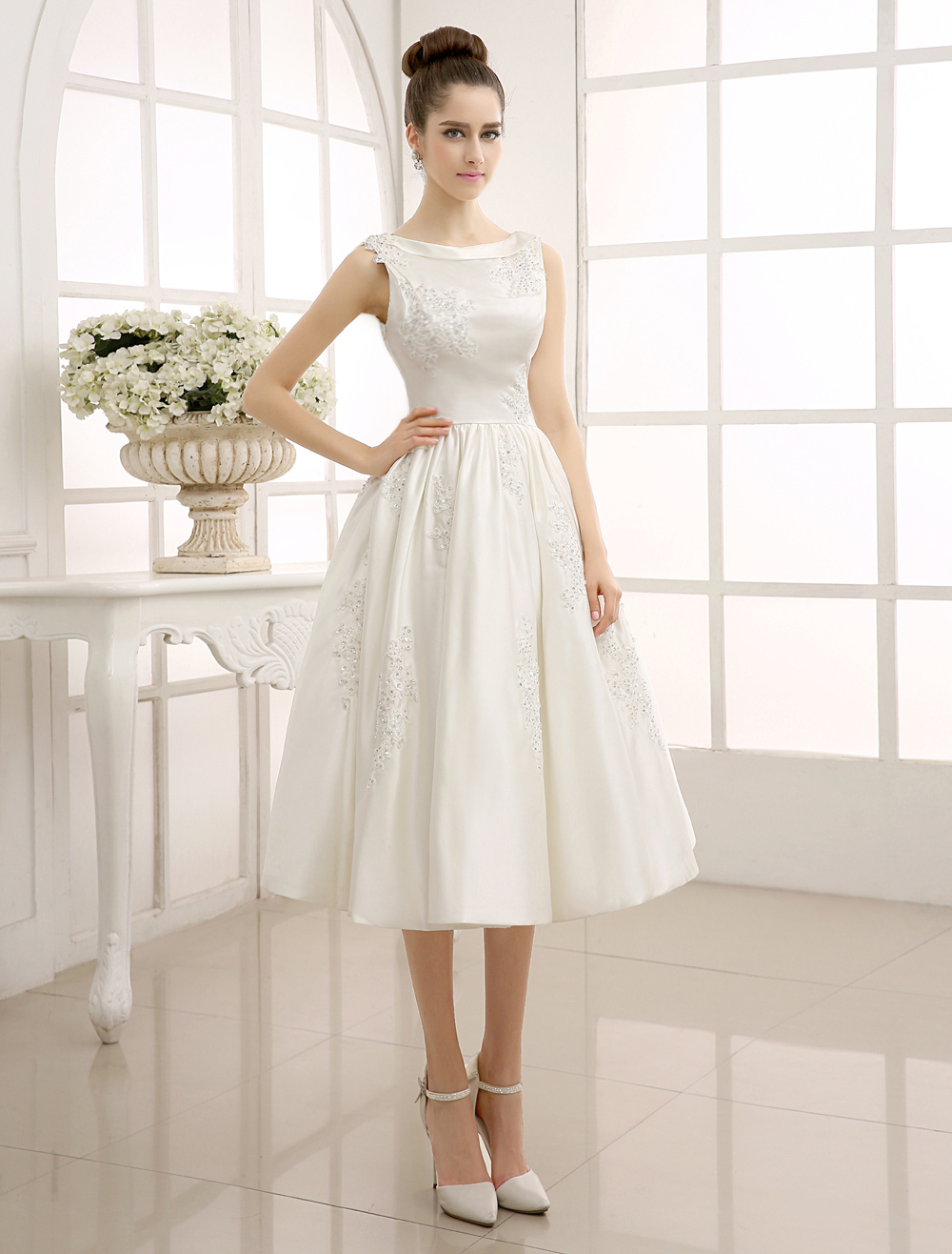 A-Line Tea-Length Beaded Lace Wedding Dress with Bateau Neck Milanoo