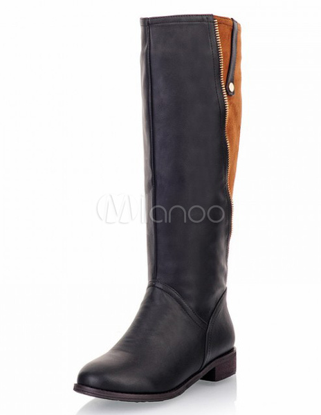 Color Block Knee Length Boots with Zipper