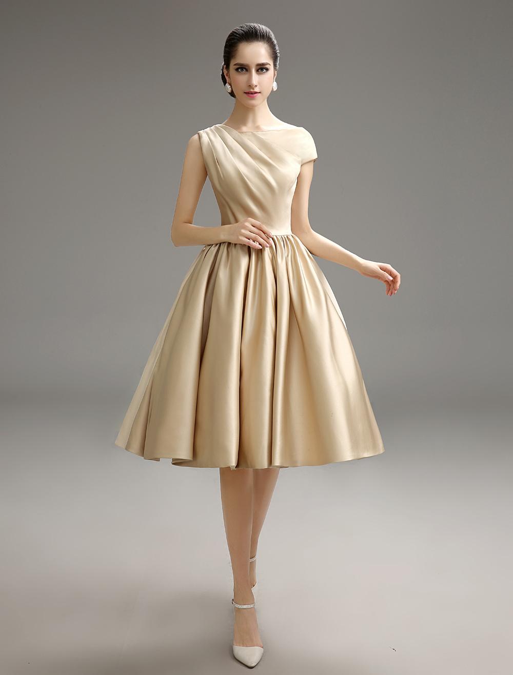 Gold Champagne Pleated Satin Bridesmaid Dress Milanoo