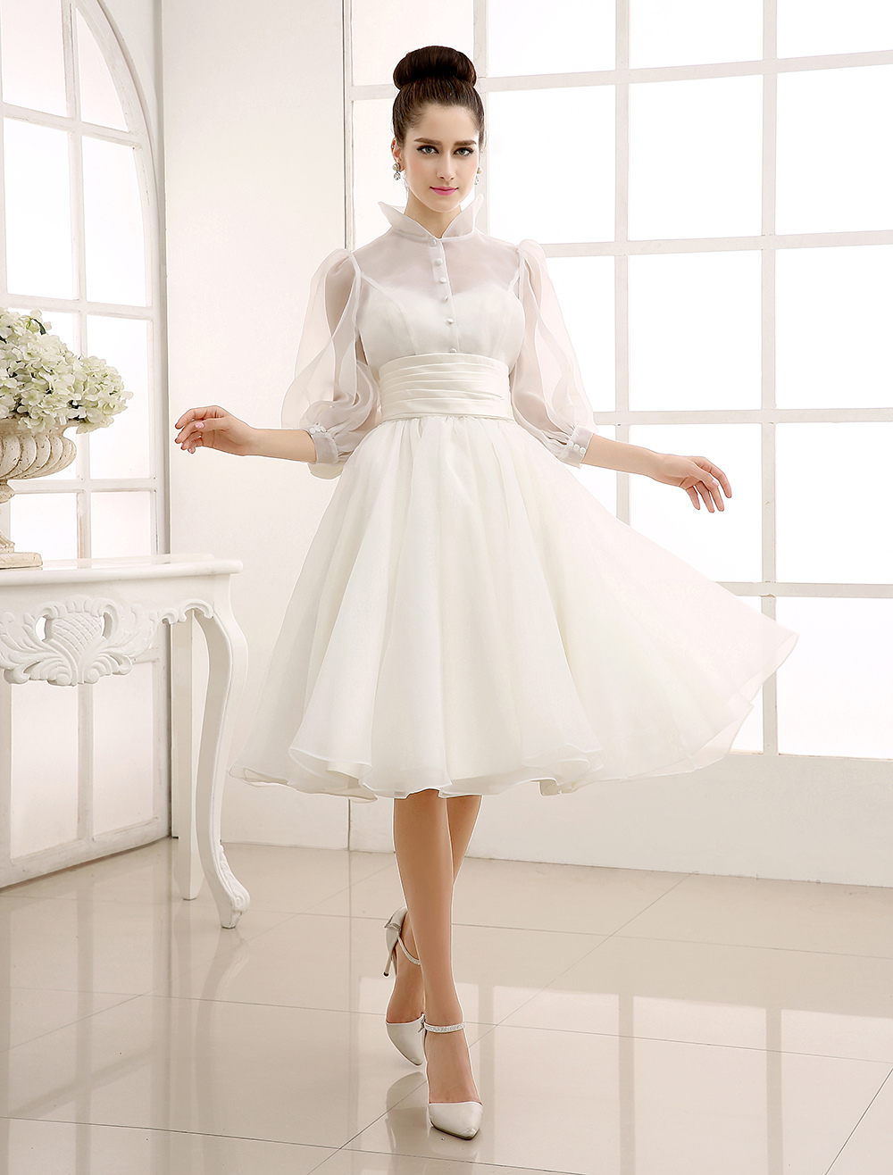 Ivory Vintage Wedding Gown with Jewel Neck Bow Detailing Milanoo ...