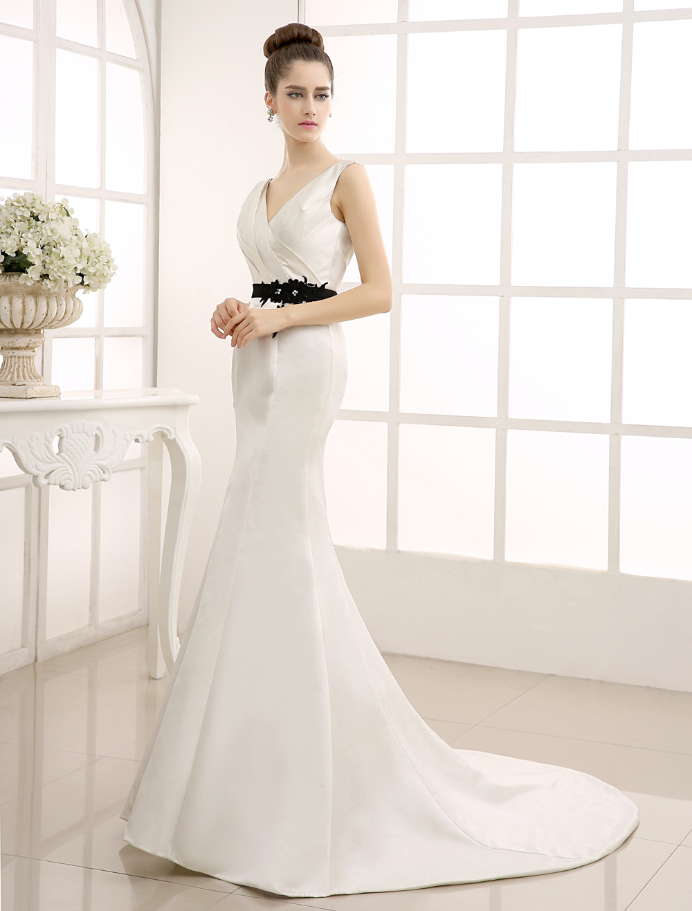 Ivory V-Neck Sweep Wedding Gown with Black Lace Belt Milanoo