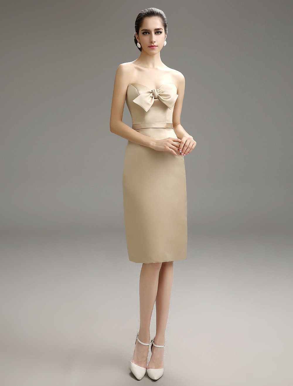 Gold Champagne Vintage Sweetheart Knee-Length Bridesmaid Dress With Bow Decor Milanoo