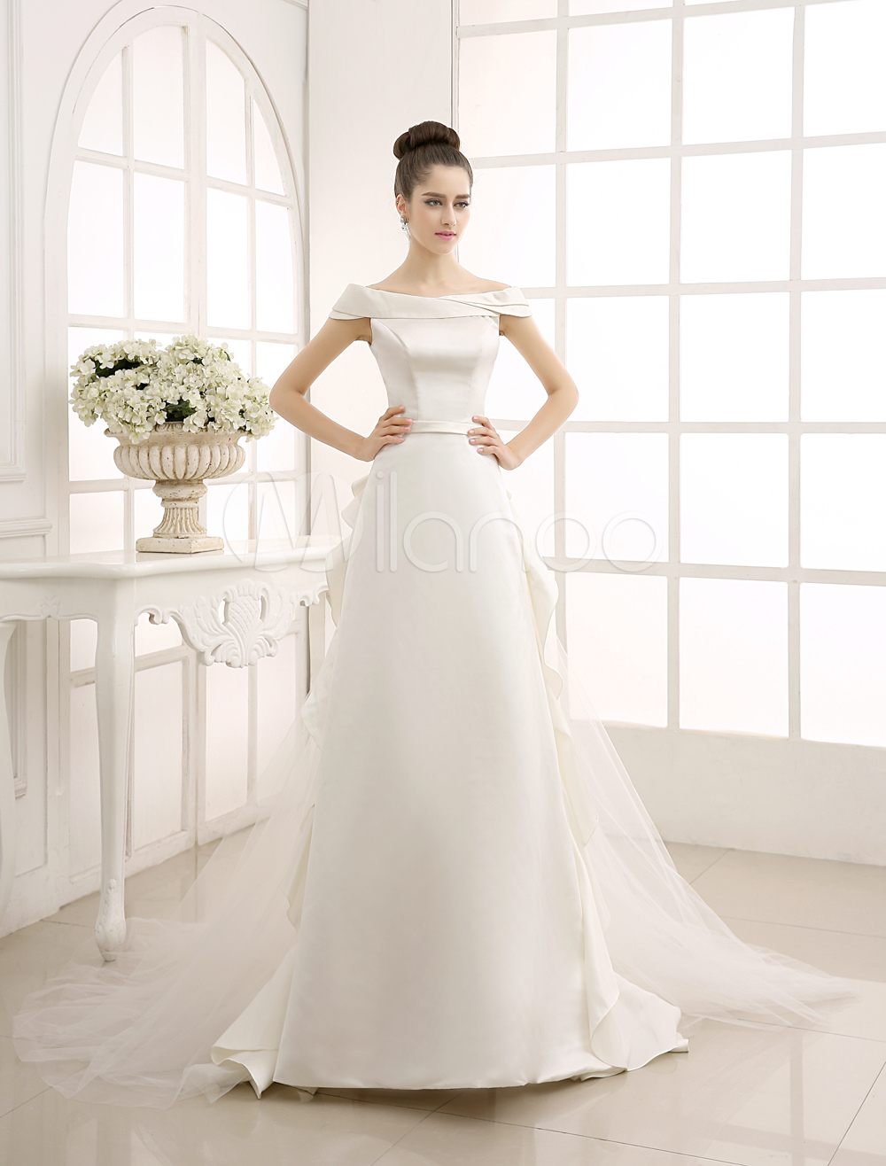 Ivory A-Line Sweep Bridal Wedding Dress with Off-The-Shoulder Ruffles Milanoo
