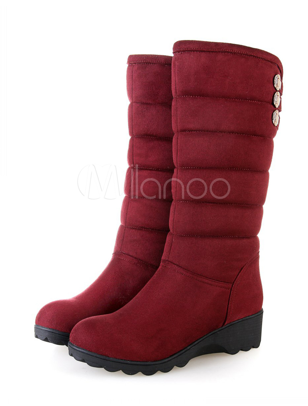 Round Toe Suede Leather Snow Boots