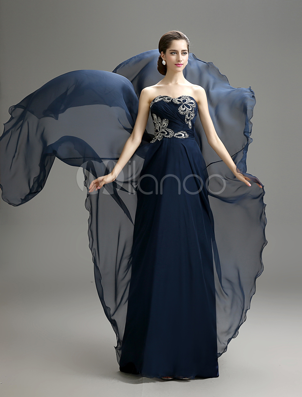 Strapless Embroidered Chiffon Dress For Mother of the Bride with Sweetheart Neck