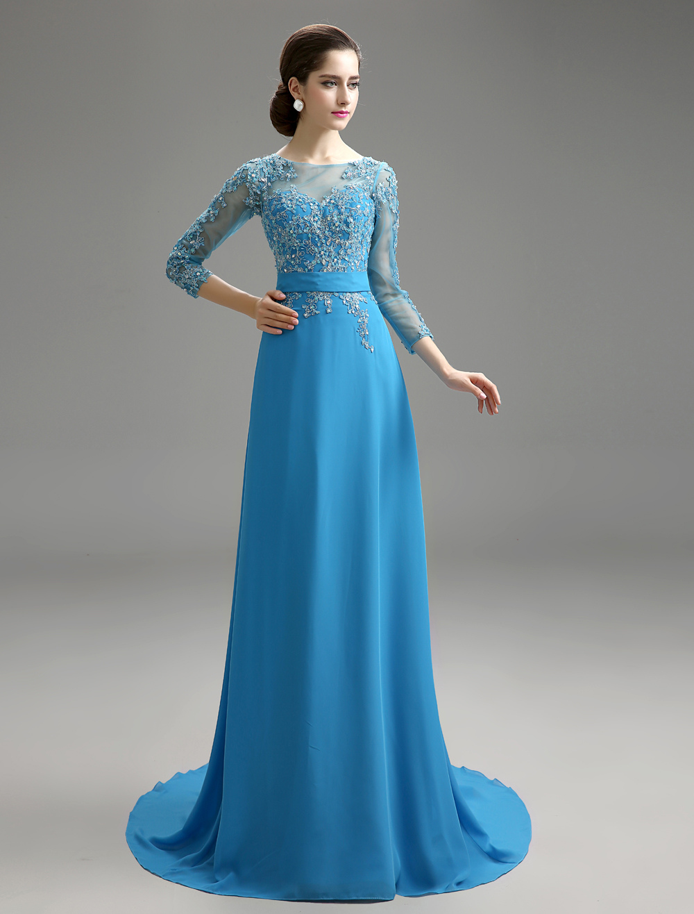 Teal Mother Of Bride Dress Applique Chiffon Backless Wedding Party Dress With Brush Train