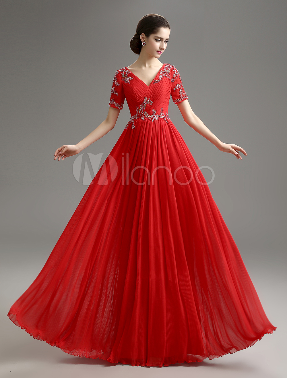 Red V-Neck Beaded Chiffon Dress For Mother of the Bride